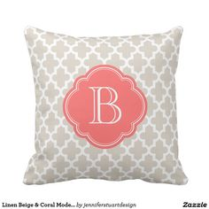 Shop Linen Beige & Coral Modern Moroccan Monogram Throw Pillow created by jenniferstuartdesign. Coral Throw Pillows, Monogram Pillows, Custom Pillows, Modern Moroccan, Pallet Projects, Embroidery Applique, Beige, Knitting, Mocha Brown
