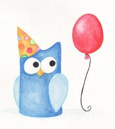 'Jerry the Blue Party Owl - Red Balloon Party Hat' by Red Marionette