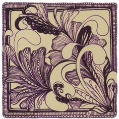 Mooka on Tan with Purple Pen by Sharla R. Hicks, Certified Zentangle Teacher, CZT. More Zentangle Examples on my Tangled Expressions Blog, would love to have you visit at http://sharlahicks.com/General/blog-tangled-expressions/
