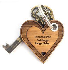 Schlüsselanhänger   Französische Bulldogge Herz