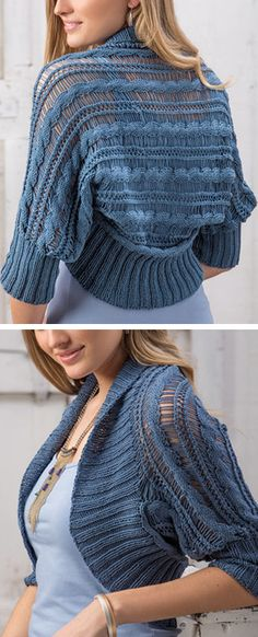 Knitting Pattern for Summer Skies Shrug - This lightweight bolero shrug is knit sideways, using dropped stitches between the cable and eyelet stitches to create extra spacing in an intricate knit fabric. Sizes: S (M, L, XL, 2XL) .