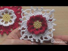 Crochet Square Motif Tutorial Crochet Flower Square blanket pattern - YouTube