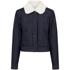 Paul & Joe Sister - Diablotin jacket (305 BAM) ❤ liked on Polyvore featuring outerwear, jackets, ifchic, faux fur collar jacket, blue jackets, paul & joe sister, short jean jacket and straight jacket