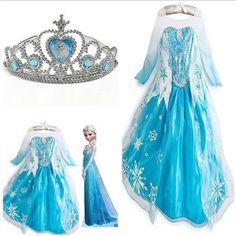 Kids Girls Dresses Disney Elsa Frozen dress costume Princess Anna party dresses #NEW #Dress