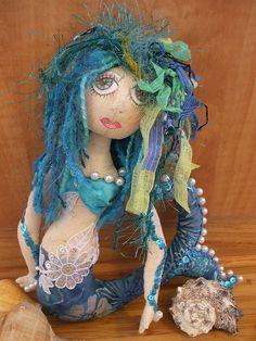 Primitive Folk Art Mermaid Art Doll by Skunkhollow on Etsy