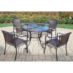 Outdoor Oakland Living Elite Tuscany Resin Wicker 5 Piece Patio Dining Set - 90045-90079-C-5-BK