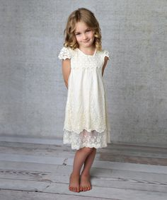 Lollies and Lace Boutique White Lace Layered Cap-Sleeve Dress - Toddler & Girls | zulily