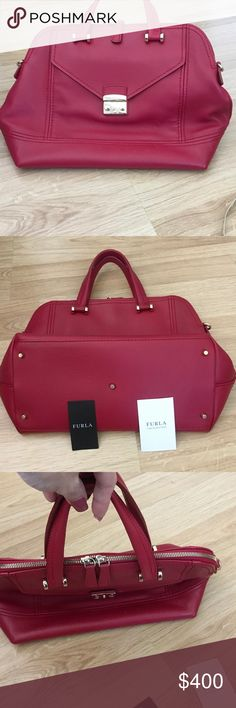Authentic Furla Bonnie Handbag Brand new! I used it only twice. All leather with no signs of wear. Comes with price tag and care instructions. It can be worn as a satchel or as a shoulder bag. I never used the shoulder strap, so it still has the stickers on it. This bag is in new condition. The noted color is Cabernet. Furla Bags Satchels