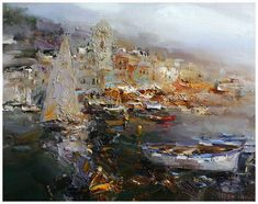 Vernazza, original oil on canvas by Angelika Privalikhina. For more information contact Sienna Fine Art. http://www.siennafineart.com/#/angelika-privalikhina-/