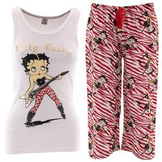 Betty Boop Rock White Red Capri Pajamas for Women - Click to enlarge