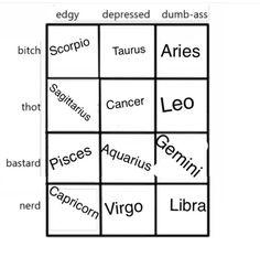 inspired by yikes-zodiac I am da edgy bitch Zodiac Funny, Zodiac Sign Traits, Zodiac Signs Astrology, Zodiac Memes, Zodiac Capricorn, Zodiac Star Signs, My Zodiac Sign, Libra Aquarius, Zodiac Tumblr