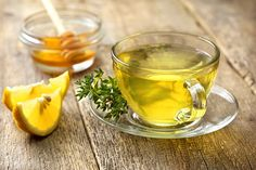 Glass of warm lemon water with thyme and text Warm Lemon Water Benefits and Side Effects Warm Lemon Water Benefits, Honey And Warm Water, Drinking Warm Lemon Water, Lemon Water In The Morning, Dry Cough Remedies, Natural Remedies, Thyme Tea, Fresh Thyme, Home