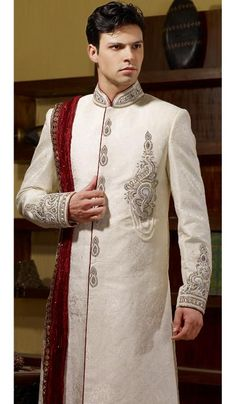 - Weddings in India are famous for its dress and apparel, in particular the attire for the Indian groom makes the weddings in India distinct and separat. Sherwani Groom, Wedding Sherwani, Saree Wedding, Wedding Suits, Groom Outfit, Groom Dress, Wedding Dress Trends, Designer Wedding Dresses, Indian Groom Wear