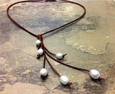 De cuero y collar de perlas de agua dulce Cindy por AdiDesigns