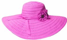 Sakkas 1511LF Womens Ribbon Paper Straw UPF 50 Wide Brim Floppy Hat  Pink  One Size >>> Want to know more, click on the image.