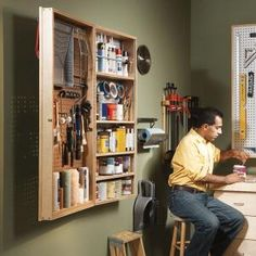 This DIY wall cabinet is the perfect place to store painting materials, tools and other hobby supplies. Try hanging it in your garage or basement.  Storage, organization