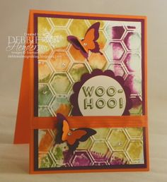 "Debbie's Designs: Watercolored Embossing!...I inked up all the ""bumps"" on my embossing folder with my ink pads (which are all 5 of the new In-Colors for 2014-2016) and ran my cardstock through to achieve this look:"