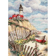 Dimensions Gold Collection Counted Cross Stitch Kit, Cliffside Beacon, 18 Count Ivory Aida, x Cross Stitch Sea, Counted Cross Stitch Patterns, Cross Stitch Embroidery, Embroidery Patterns, Hand Embroidery, Dimensions Cross Stitch, Cross Stitch Landscape, Cross Stitching, Sewing Crafts