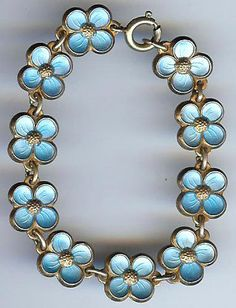 DAVID ANDERSEN NORWAY VINTAGE STERLING BLUE ENAMEL FORGET-ME-NOT TINY BRACELET