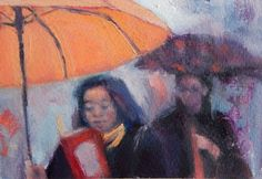 ARTFINDER: 08.39 London Bridge by Sheri Gee - There's something captivating about the rain, the way it makes the pavements glisten and people hurry. In this latest series of paintings, I've tried to capt...