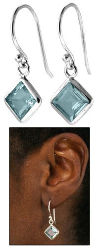 Sea of Cortez Blue Topaz & Sterling Earrings at TheAnimalRescueSite  >buy products & help animals at the same time!