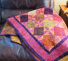 Quilted batik lap quilt couch throw by Quiltsbysuewaldrep on Etsy