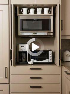 Inspiring Smart Kitchen Organization Ideas - Page 35 of 43 Kitchen Appliance Storage, Refacing Kitchen Cabinets, Diy Kitchen Storage, Diy Cabinets, Kitchen Organization, Kitchen Appliances, Smart Storage, Hidden Storage, Small Appliances