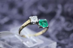 14K Gold TwoTone Ring with Emerald and by timekeepersinclayton