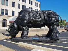 Rhinoceros sculpture  from old tyres.