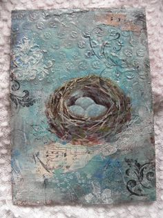 Hand Painted Birds Nest by laurie_may101, via Flickr - inspiration only - just love the look of this - #MixedMedia #AlteredArt #BirdNest - tå√