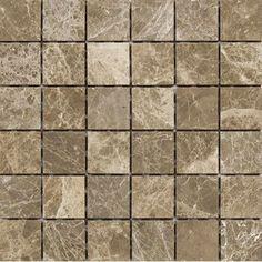 """Parvatile Emperador 2"""" x 2"""" Stone Mosaic Tile in Light Polished"""