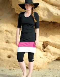 Enjoy a modest look and great comfort with SunWay's Modest Swimwear Outfit The lightweight material is water resistant and dries quickly. Modest Summer Outfits, Modest Summer Fashion, Modest Dresses, Modest Clothing, Modest Swimsuits, Cute Swimsuits, Modest Workout Clothes, Workout Clothing, Workout Outfits
