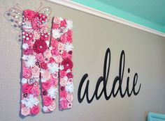 """Name Closeup, LOVE this """"M"""" made with fabric flowers and other pretty things"""