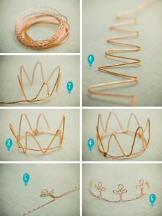 DIY: wire crown so cute for a little girl's partyDIY: wire crown- Could use as napkin rings for chrissy!DIY: wire crown Could try this with pipe cleanersDIY: wire crown I bet you could thread some beads on the wire during the bending and that would l Diy Projects To Try, Craft Projects, Diy For Kids, Crafts For Kids, Wire Crown, Diy And Crafts, Arts And Crafts, Fall Crafts, Nature Crafts