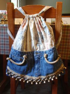 Denim vintage bag tote purse bookbag backpack repurposed jeans.