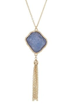 """Hello GORGEOUS!! """"Look"""" at this Blue Crack Stone ... we just got in stock! FREE SHIPPING!! Order while supplies last at http://wildtyboutique.com/products/blue-crack-stone-with-tassel-pendant-necklace?utm_campaign=social_autopilot&utm_source=pin&utm_medium=pin"""