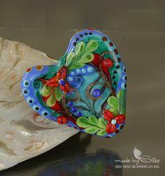 Handmade lampwork bead focal     Heart    by calypsosbeads on Etsy