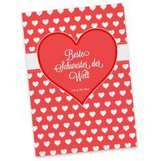 Postkarte Herz Geschenk Beste Schwester der Welt aus Karton 300 Gramm  weiß - Das Original von Mr. & Mrs. Panda.  Diese wunderschöne Postkarte aus edlem und hochwertigem 300 Gramm Papier wurde matt glänzend bedruckt und wirkt dadurch sehr edel. Natürlich ist sie auch als Geschenkkarte oder Einladungskarte problemlos zu verwenden. Jede unserer Postkarten wird von uns per hand entworfen, gefertigt, verpackt und verschickt.    Über unser Motiv Herz Geschenk  Das Motiv Herz Geschenk ist ein…