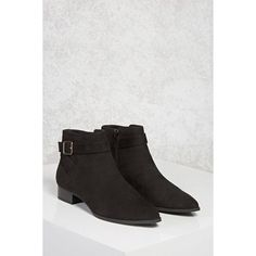 Forever21 Faux Suede Ankle Boots ($30) ❤ liked on Polyvore featuring shoes, boots, ankle booties, ankle boots, black, black platform booties, platform booties, low heel ankle boots, platform bootie and low heel booties