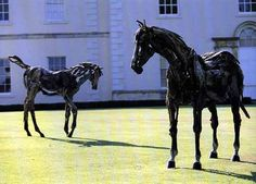 'Nightmare & Daydream'by Heather Jansch. Heather Jansch is a British sculptor notable for making life-sized sculptures of horses from driftwood. She has also used cork as a material in her creations