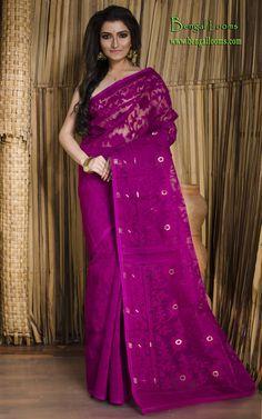 Self Work Jamdani Saree in Purple Dupion Silk Saree, Dhakai Jamdani Saree, Banarasi Sarees, Cotton Saree, Bengali Saree, Indian Sarees, Indian Fashion Dresses, Indian Outfits, Plain Saree With Heavy Blouse