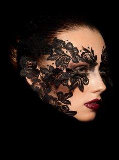 Black Lace Mask Inspiration Gallery - Fashion Shoots and Masquerade Balls Photo Makeup, Makeup Art, Eye Makeup, Makeup Style, Lace Masquerade Masks, Masquerade Makeup, Mascarade Mask, Art Visage, Makeup Portfolio