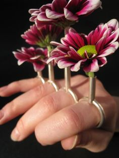 Ring | Francesca Smith. 'Hand Vase'. A hand crafted four finger ring, made of silver plated brass, it can hold up to four living flowers.
