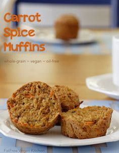 Carrot Spice Muffins from FatFree Vegan Kitchen: Whole grain, vegan, and no added oil.
