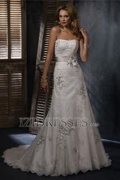 A-Line Sheath/Column Strapless Organza Wedding Dress - IZIDRESSES.COM
