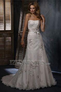 A-Line Sheath/Column Strapless Organza Wedding Dress - IZIDRESSES.COM