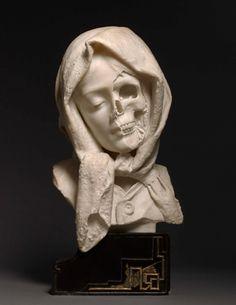 Half face / skull - Italian, late century sculpture, A Vanitas Vanitas, Bild Tattoos, Art Plastique, Skull Art, Dark Art, Oeuvre D'art, Art History, Art Inspo, Amazing Art