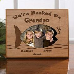 Cute gift idea for Dad, Grandpa or anyone who loves to Fish! You can personalize it with kids or grandkids names at the bottom ... perfect for their desk at work or home as a birthday or Fathers Day gift!