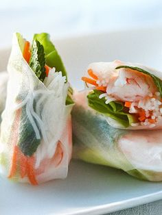 Fresh Shrimp Rolls.This is a very refreshing roll that is so delicious and light it can be served at any time of day. See More Delicious Recipes!