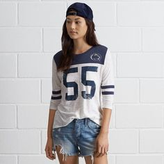 Tailgate PSU 3/4 Sleeve Jersey (€46) ❤ liked on Polyvore featuring tops, blue, blue top, football jerseys, 3/4 length sleeve tops, 3/4 sleeve tops and crew neck top